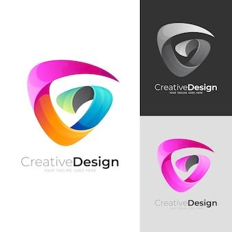 3dカラフルなデザインの抽象的な文字gロゴ