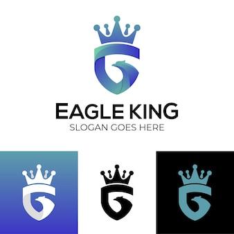 브랜드 로고에 대한 방패와 왕관 아이콘이 있는 추상 문자 g 모양의 독수리 머리 조합