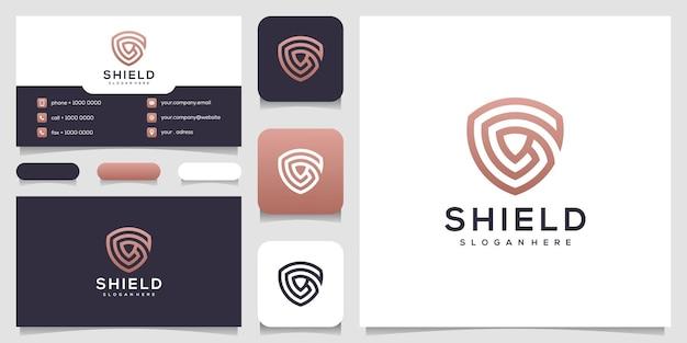 라인 아트 스타일 로고 명함 디자인으로 추상 문자 g 방패