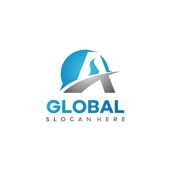 Abstract letter a global logo template
