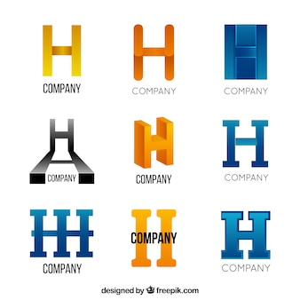 Abstract letter h logo collection
