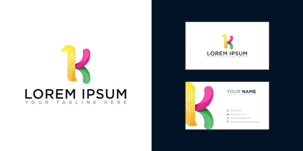 Abstract letter k logo with business card template