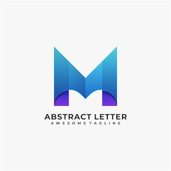 Abstract letter logo design modern color