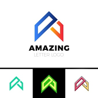 Abstract letter a logo design template