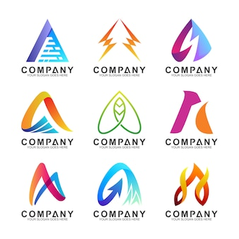 Abstract letter a logo templates