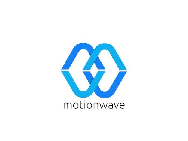 抽象的な手紙mとwのロゴアイコンのテンプレート