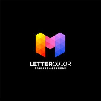 抽象文字mグラデーションカラフルなイラストのロゴ。