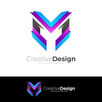 Абстрактный логотип буква m с простым дизайном