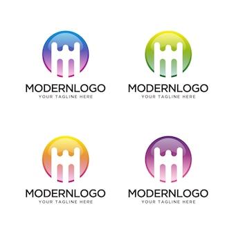 異なる色の抽象的な文字m。