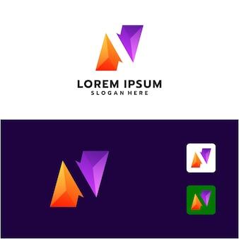 Абстрактный дизайн логотипа буква n