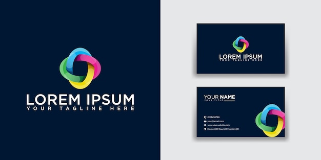 Abstract letter o logo with business card template
