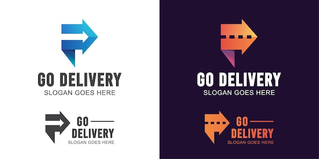 Abstract letter p with arrow and road symbol for logistics, transport fast delivery logo