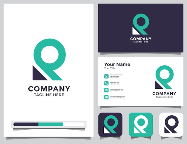 Abstract letter r logo and business card