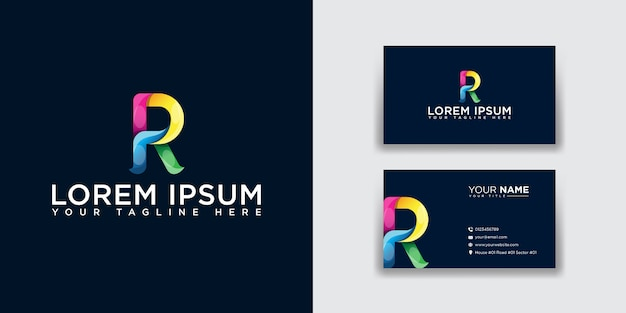 Abstract letter r logo with business card template