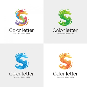 Abstract letter s contour logo design