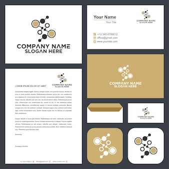 Abstract letter s logo with dot concept and business card
