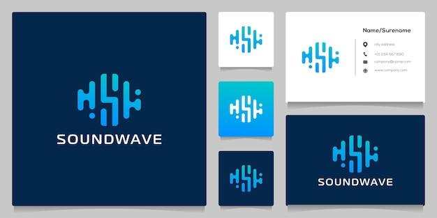 抽象文字sサウンドウェーブロゴデザインは黒の背景に分離