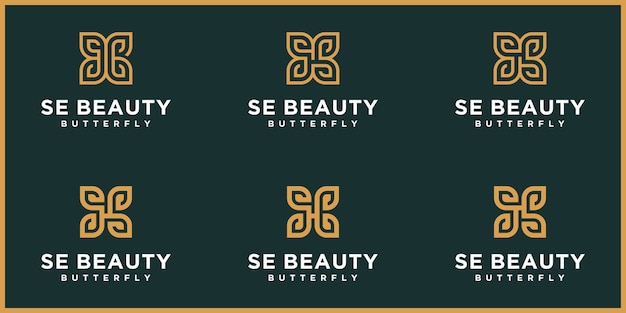 Abstract letter se ,s  logo,butterfly gold, beauty  logo