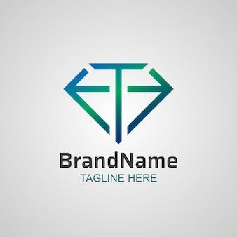 Abstract letter t diamond line logo design