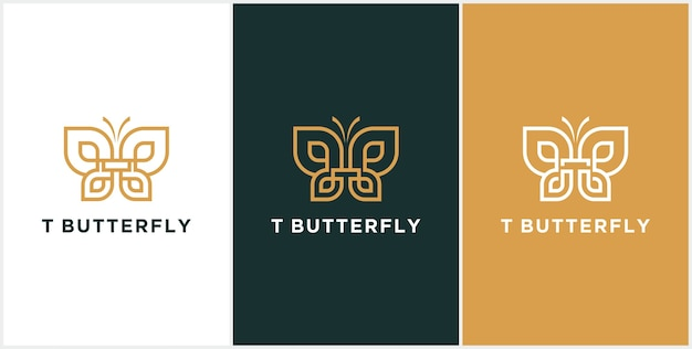 Abstract letter t logo,butterfly gold, beauty  logo