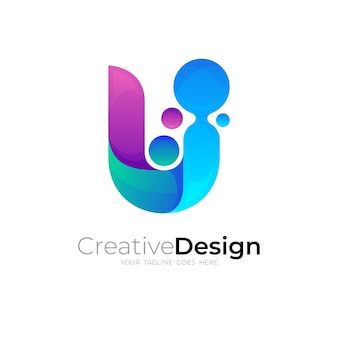 Abstract letter u logo and circle design vector