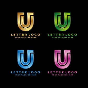 Abstract letter u luxury logo design