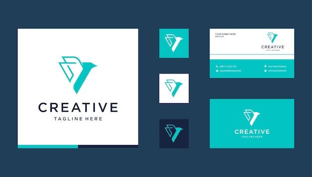 Абстрактная буква v с дизайном логотипа птицы, значок, шаблон визитной карточки