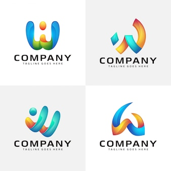 Abstract letter w logo design