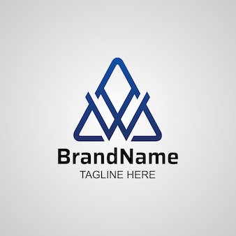 Abstract letter w on triangle shape  logo, creative w mountain icon design.