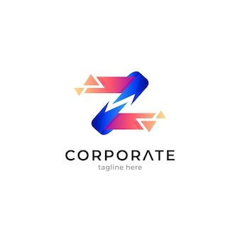 Abstract letter z logo with pixel shape or crystal shard effect