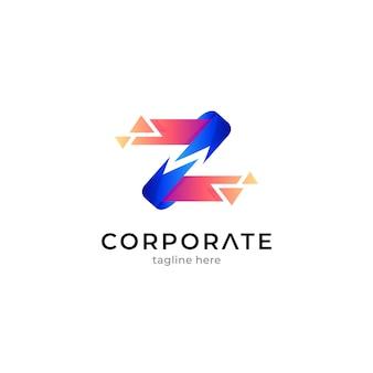 Абстрактный логотип буква z с формой пикселя или эффектом осколка кристалла