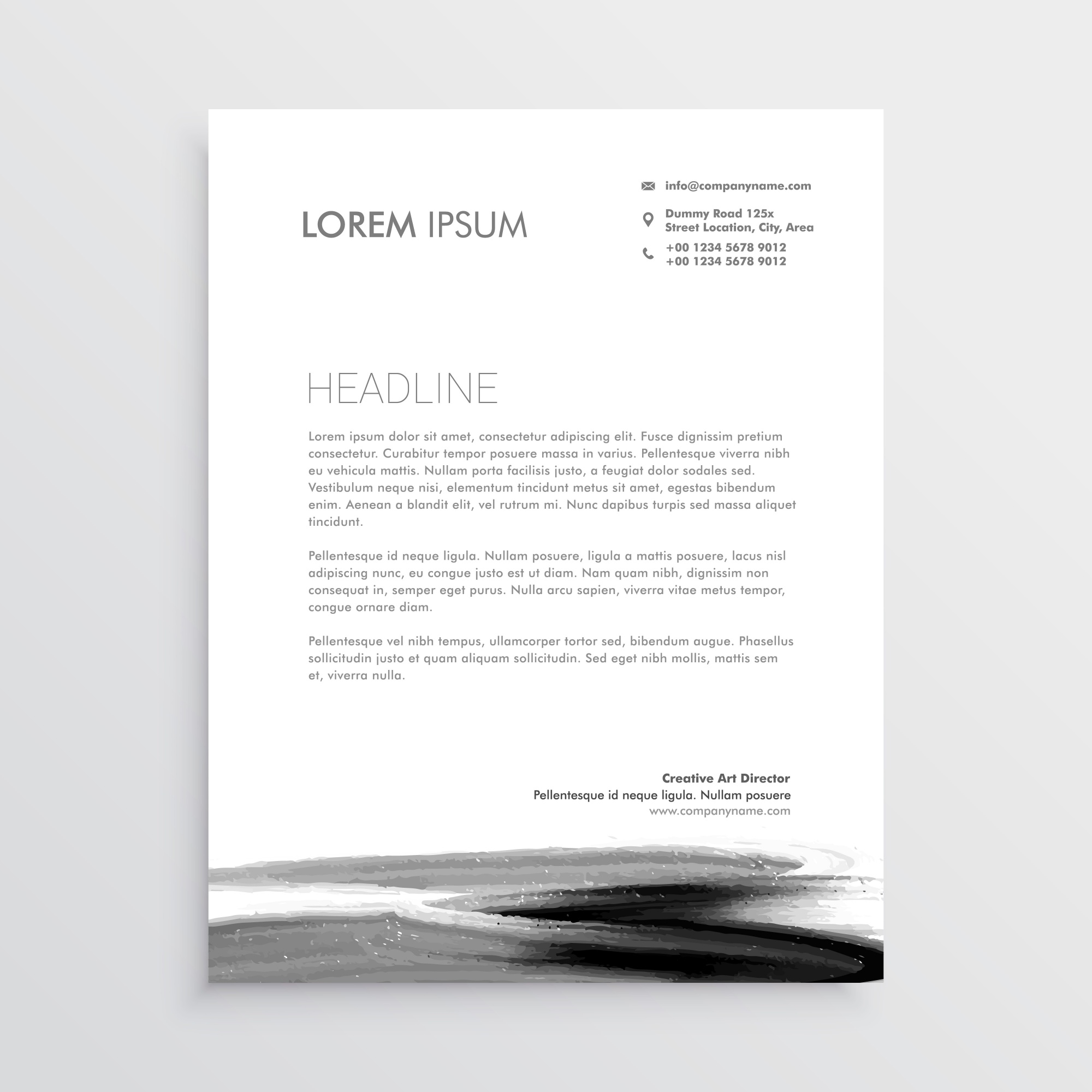 Abstract letterhead template design with paint stroke