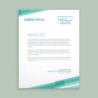 Abstract letterhead template with green lines Free Vector
