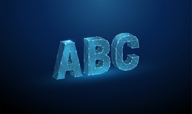 Абстрактные буквы abc. низкий поли стиль дизайна.