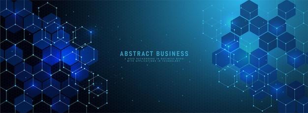기하학적 모양과 조명 육각형 패턴으로 추상 밝은 파란색 배경 배너 디자인 템플릿. 기술 또는 과학 디자인을 위한 작은 점 벡터 일러스트와 함께