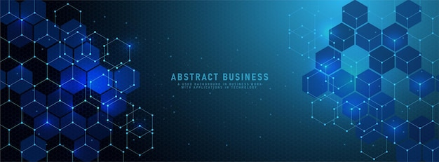 Abstract light blue background banner design template with geometric shapes and lighting hexagons pattern. with small dot vector illustration for technology or science design