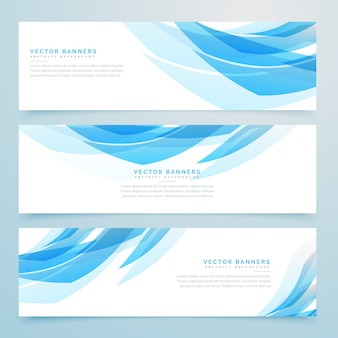 Abstract light blue banners set