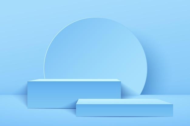 제품에 대 한 추상 밝은 파란색 큐브 표시. 3d 렌더링 기하학적 모양 파스텔 색상입니다.