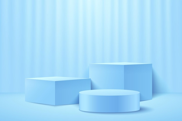 Abstract light blue cube and round display for product. 3d rendering geometric shape pastel color.