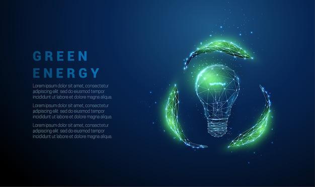 電球を抽象化し、葉からサインをリサイクルします。低ポリスタイルのデザイン。青の幾何学的な背景。ワイヤーフレーム光接続構造。