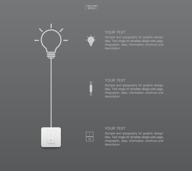 Abstract light bulb and light switch.