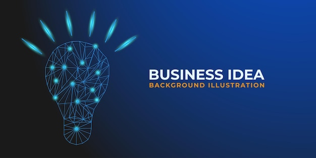 Abstract light bulb low poly wireframe and point for a business idea background