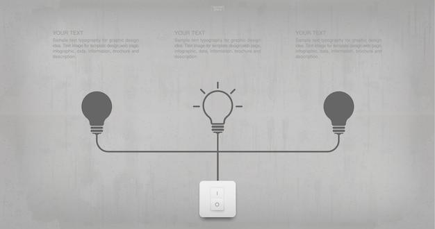 Абстрактный символ лампочки и выключатель света на фоне бетонной стены.