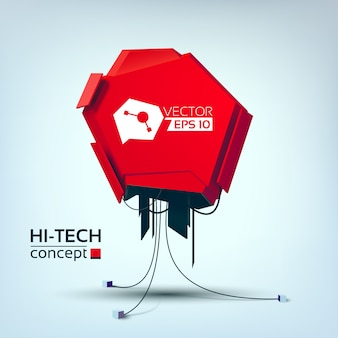 Abstract light concept with futuristic red metal object in hi-tech style