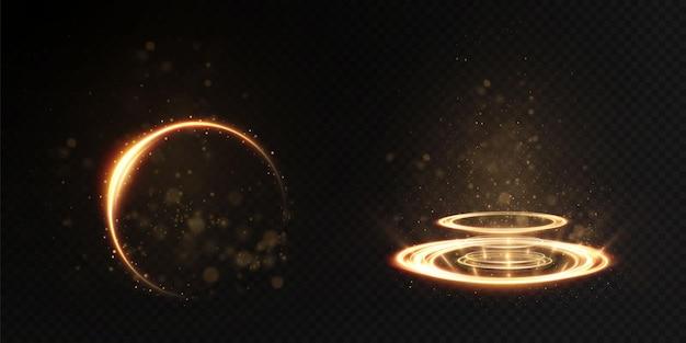 Abstract light effect of golden line of light.