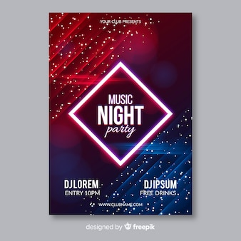Abstract light effect muscic poster template