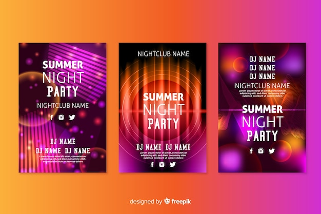 Abstract light effect music poster template