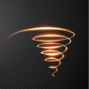 黄金の光の線の抽象的な光の効果
