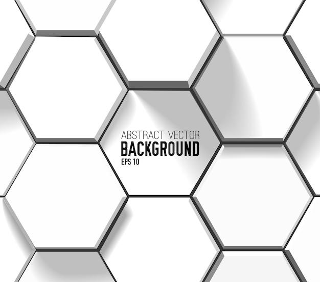 Абстрактный светлый геометрический фон с белыми 3d шестиугольниками в стиле мозаики