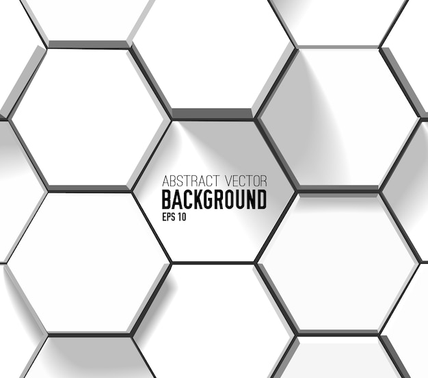 Abstract light geometric background with white 3d hexagons in mosaic style